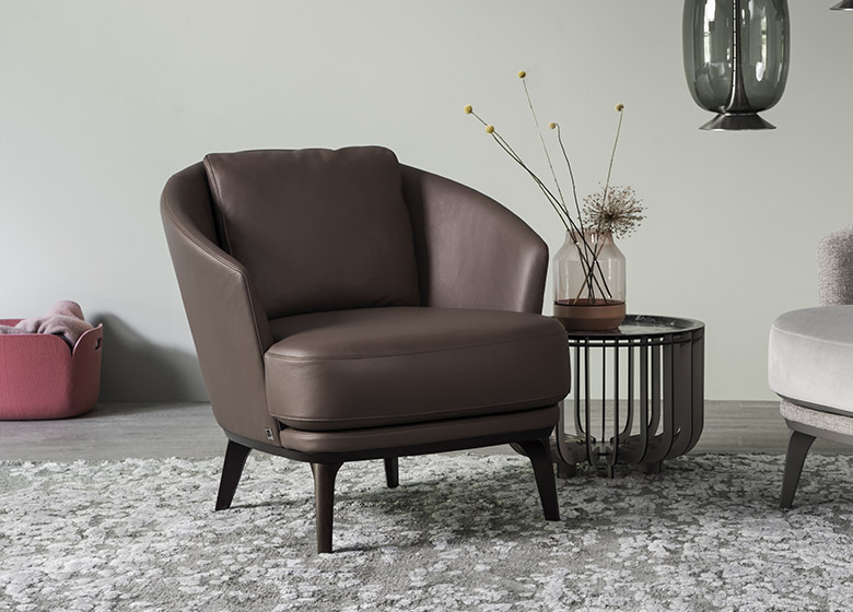 Amy Easy Chair, Leather Brown Background
