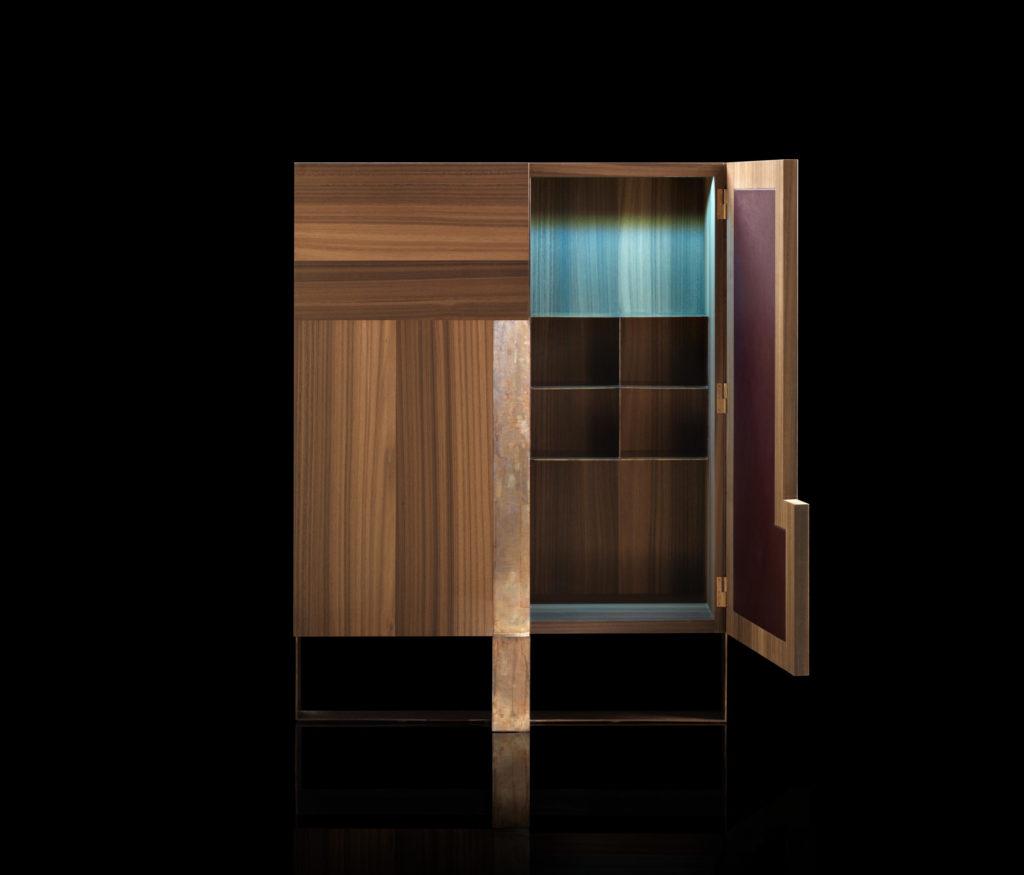 Side L Cabinet Oak Brass Open