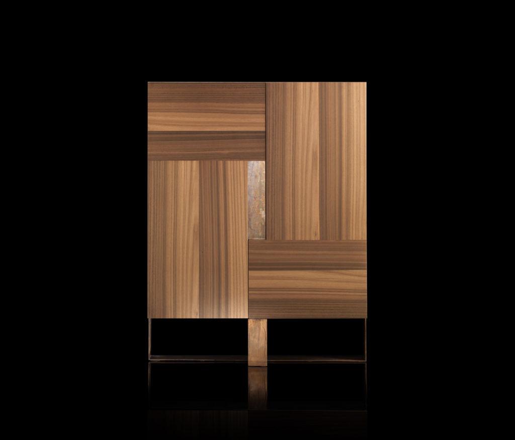 Side L Cabinet Oak Brass