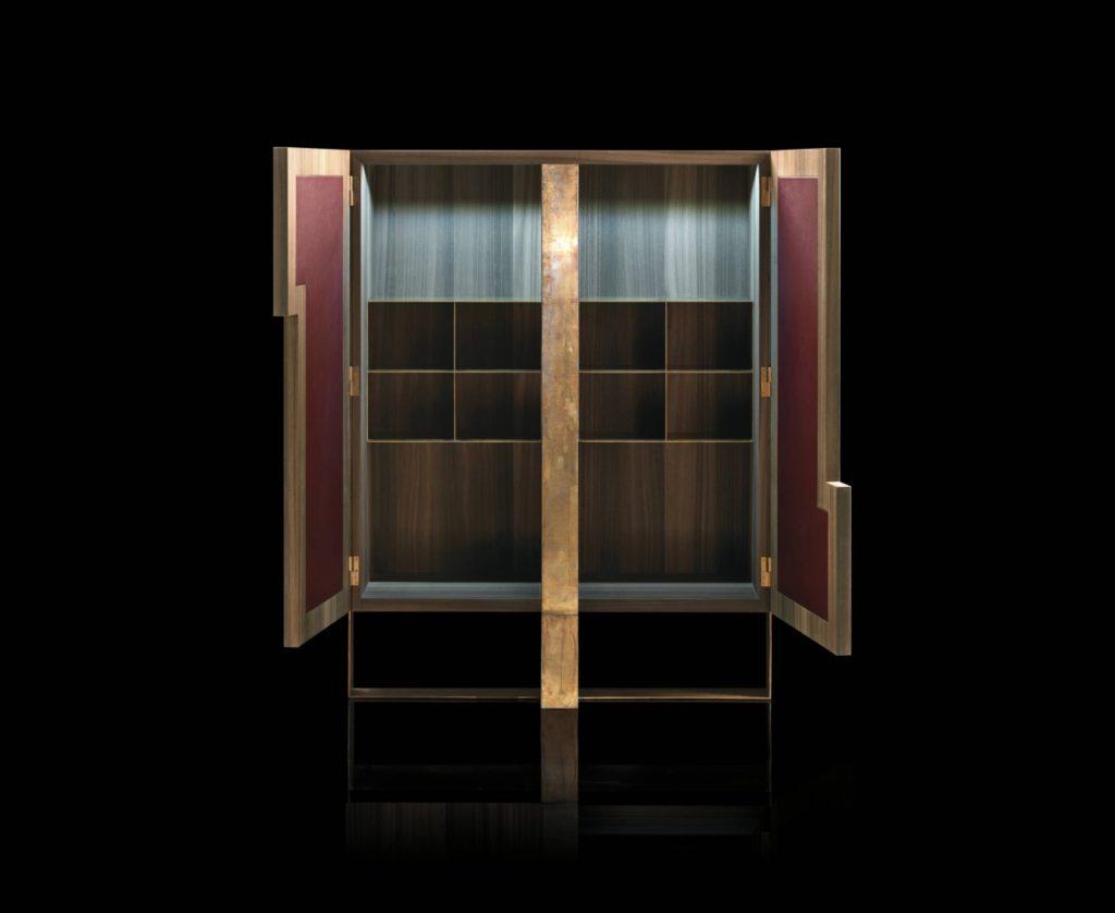 Side L Cabinet Oak Brass Open Double