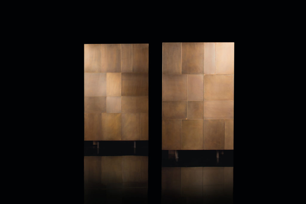 Slim Side Vertical Double Cabinet Brass Closed